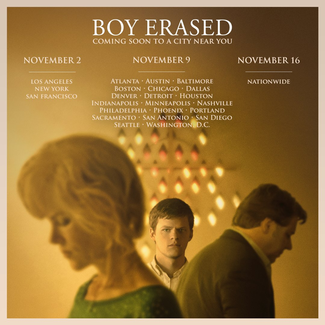 RT @BoyErased: Find out when #BoyErased is coming to a theater near you: https://t.co/jbggGfOWx6 https://t.co/xmaOKdB1tc