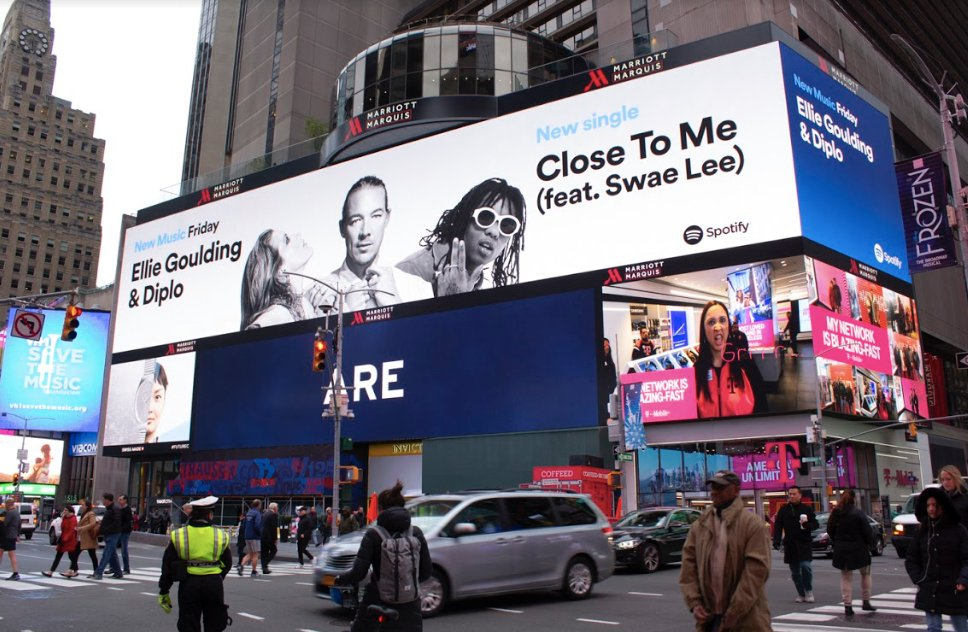 'Close To Me' in Time Square ???? thank you @Spotify ! @diplo @goSwaeLee https://t.co/Kpf93svqvx