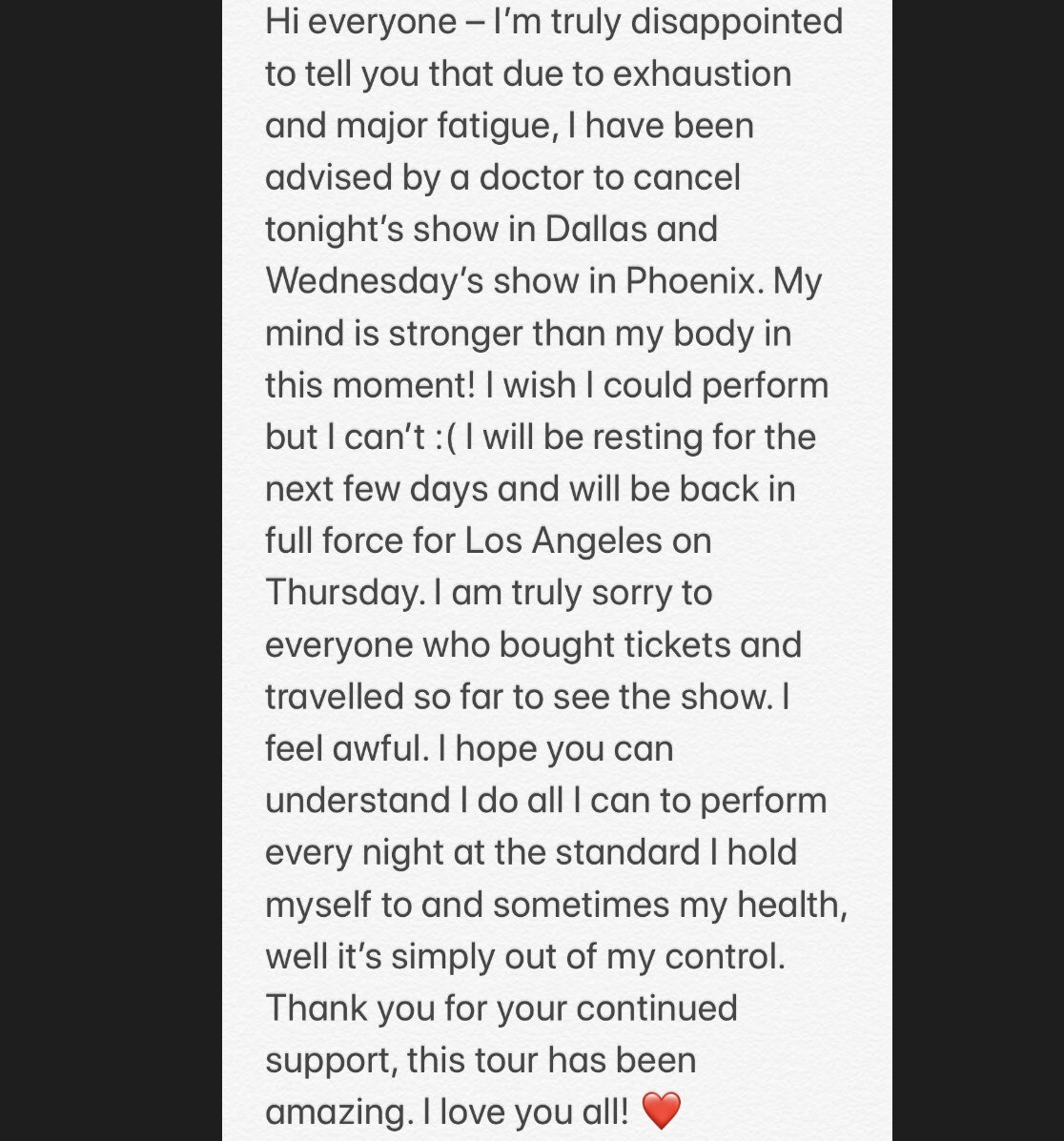 To all my heartbeats in Dallas and Phoenix ❤️ https://t.co/BqCAk24KnO