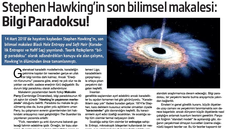 """Teorik fizikçilerin """"bilgi paradoksu"""" olarak adlandırdığı konuyu ele alan çalışma, Hawking'in ölümünden önce tamamlanmıştı. https://t.co/KptsDywAS2"""