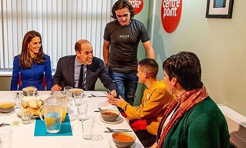 Prince William laughs at royal protocol with young dinner