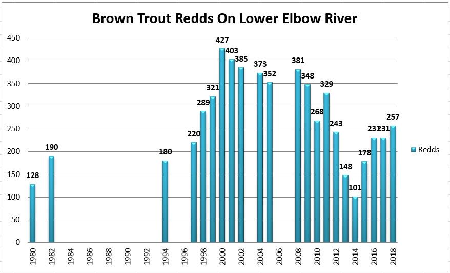 test Twitter Media - Here's the updated chart for the Brown #trout redds on the lower Elbow River (Glenmore Dam to confluence w Bow River). Incr from 231 in both 2016 & 2017 to 257 in 2018. Still below pre-2013 #flood avg of 303, and below overall avg of 272, but on the uptick. #citizenscience https://t.co/cXjT3wbOQD