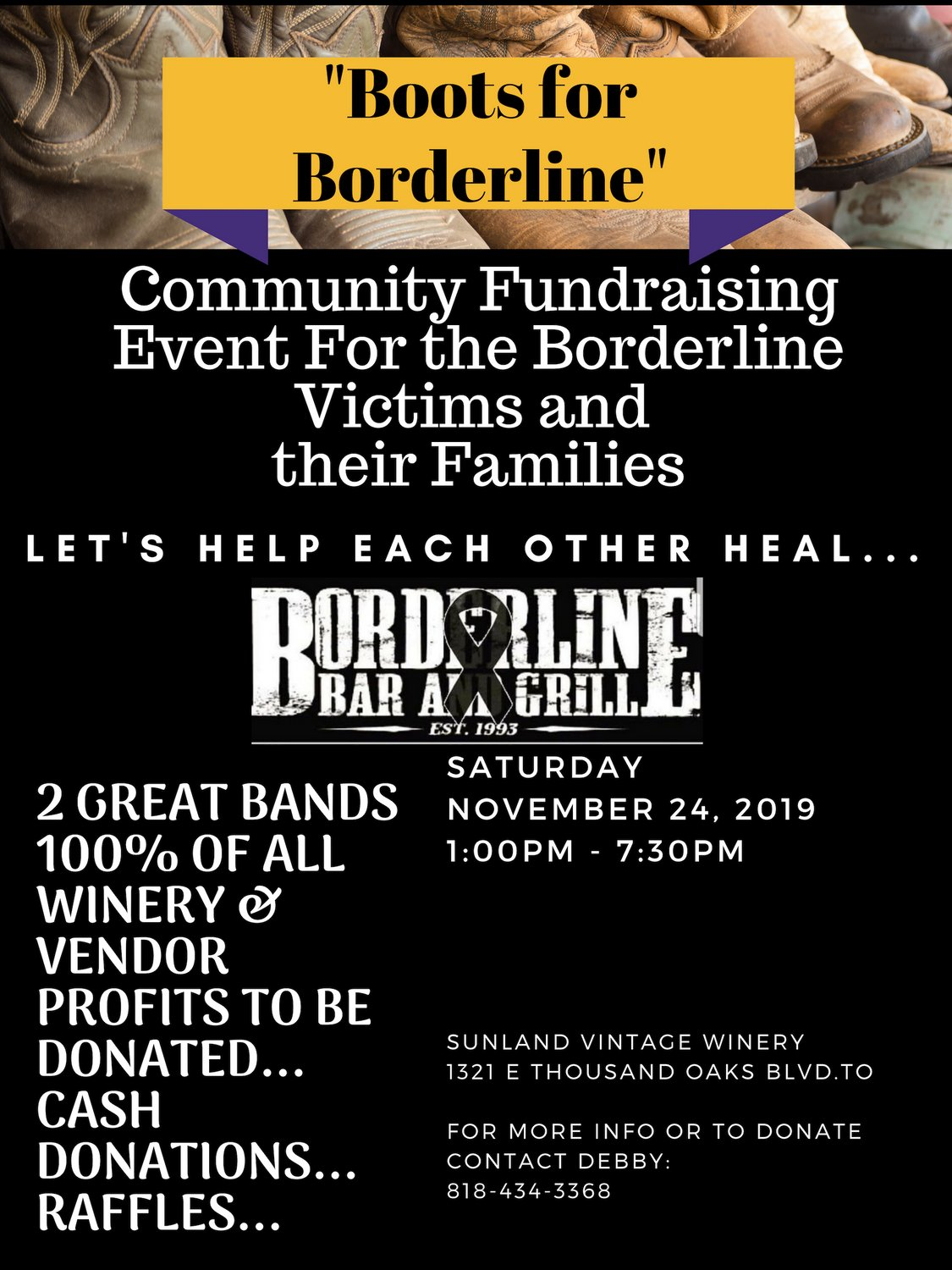 """""""Boots for Borderline""""  Join us as we raise money for the Victims and their Families...Live Music, Food, Raffles  #TOStrong https://t.co/7Me7MAnBUm"""
