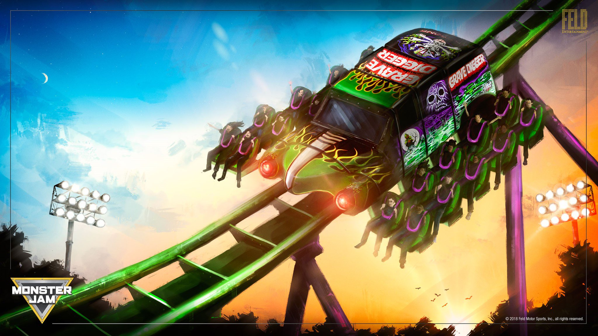 """Look at this Grave Digger Coaster Concept from @FeldEnt!  """"Grave Digger Freestyle Run will allow guests to experience backflips, corkscrews, saves & big air moments that the real Grave Digger drivers experience in their 12,000 lb Monster Jam trucks during Freestyle competitions."""" https://t.co/sFpDaOqbPM"""