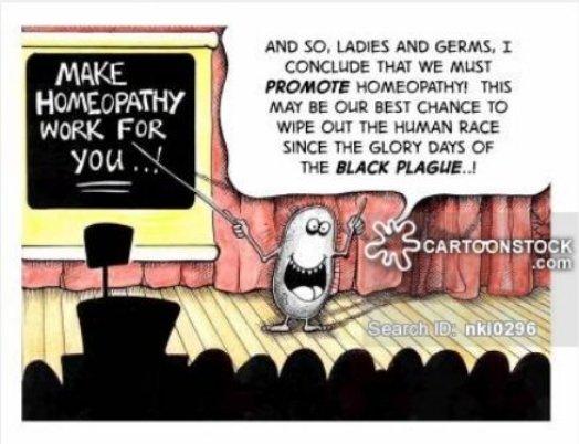 L'#homéopathie vue par les germes pathogènes : la meilleure façon d'en finir avec le genre humain depuis la peste noire  Nick Kim, cartoonist #FakeMed https://t.co/PzK5eyVMMs