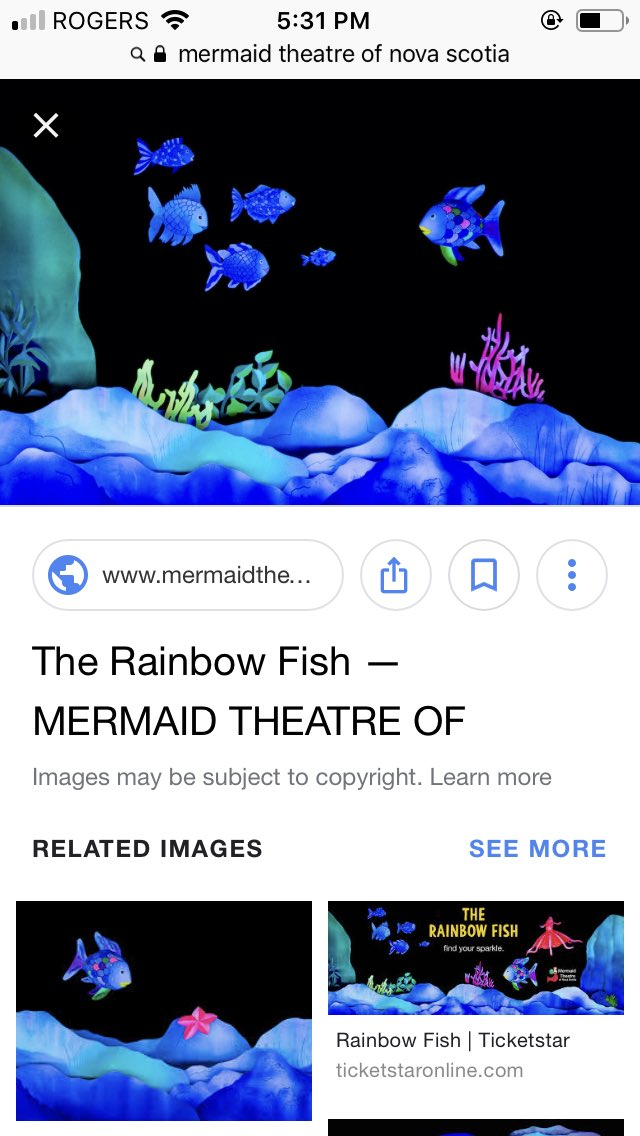 So much fun the theatre today.  Great show! #TheRainbowFish #MermaidTheatreofNovaScotia https://t.co/49UZiP0I22