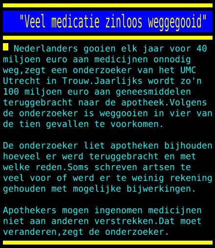 "test Twitter Media - ""Veel medicatie zinloos weggegooid"" https://t.co/PoyuB6zd5A"