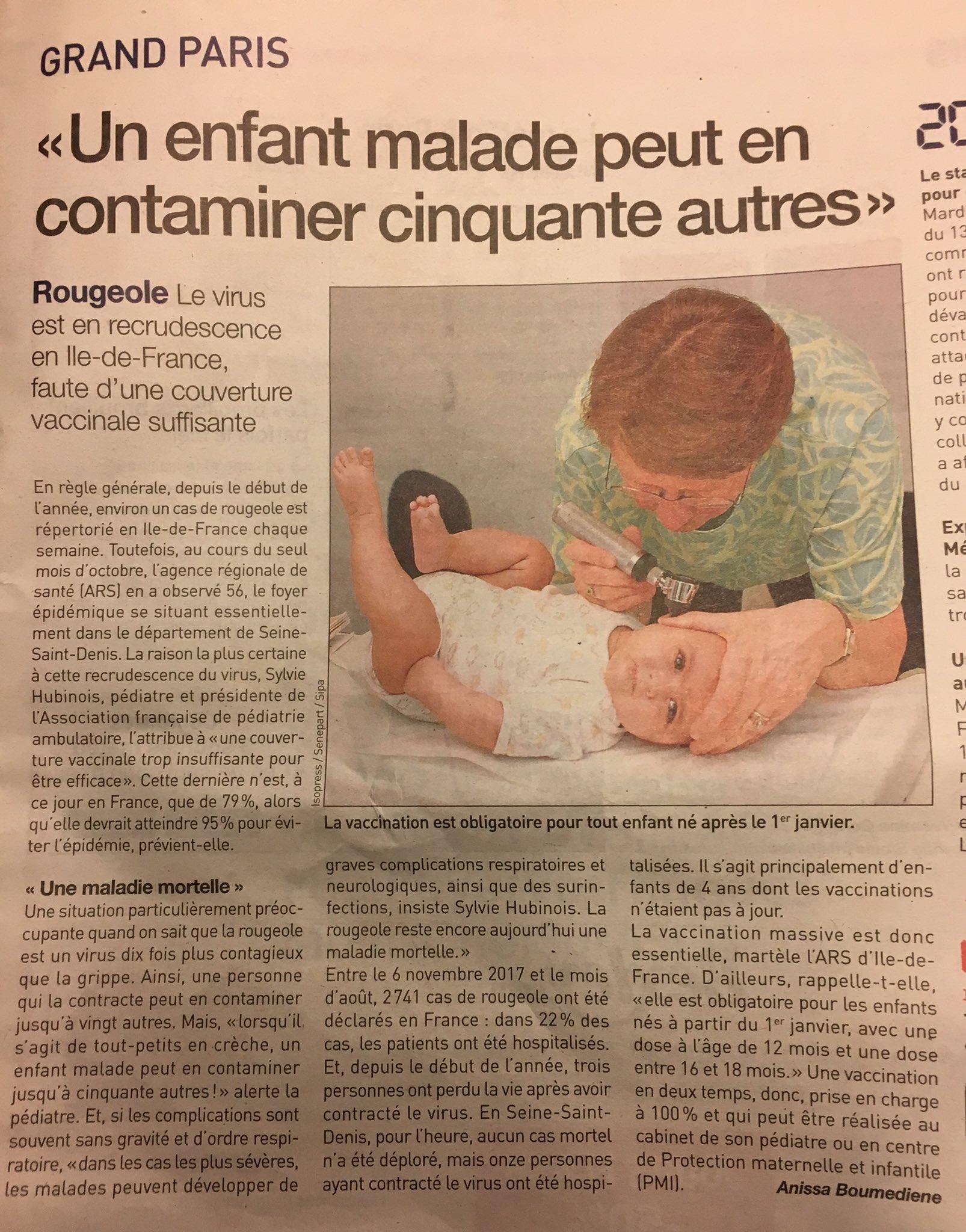 #SantePublique #vaccination la #rougeole est en recrudescence en #IledeFrance en raison d'une couverture vaccinale insuffisante ! 1 cas de rougeole est répertorié en Ile de France chaque semaine via @20Minutes @ARS_IDF https://t.co/eanVuj64c2