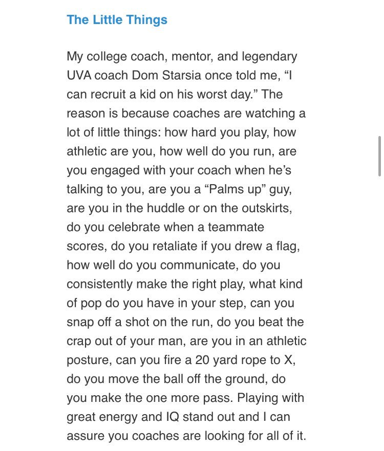 """A great piece on the """"little things"""" from @jamiemunro3 and Coach Starsia. It touches on a lot of the topics we talked about in our final breakdown at our last fall practice. https://t.co/0GR7ziZwBd"""