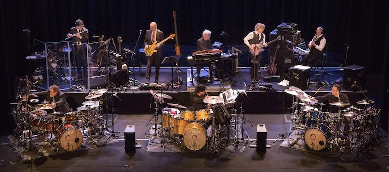 About last night (1/4). King Crimson were always a GREAT band. But the three-drummers thing has taken them, and their songs, to an astonishing place. It was so fantastic (correct word) I didn't know whether to laugh out loud of weep. #grinned https://t.co/YU50kgIabU