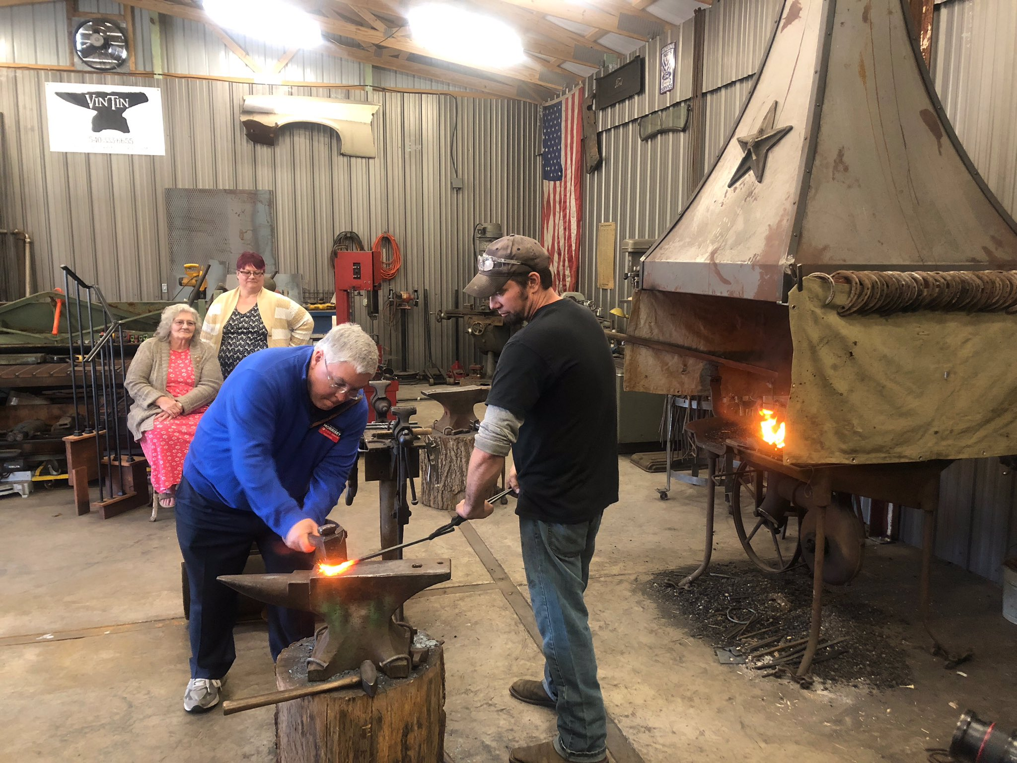Stopped by VinTin Welding in Falling Waters to see the blacksmith in action! We're working Berkeley and Jefferson counties hard today before we head back to Beckley and the southern coalfields in a few hours. #wvsen https://t.co/eRtet9IhL8