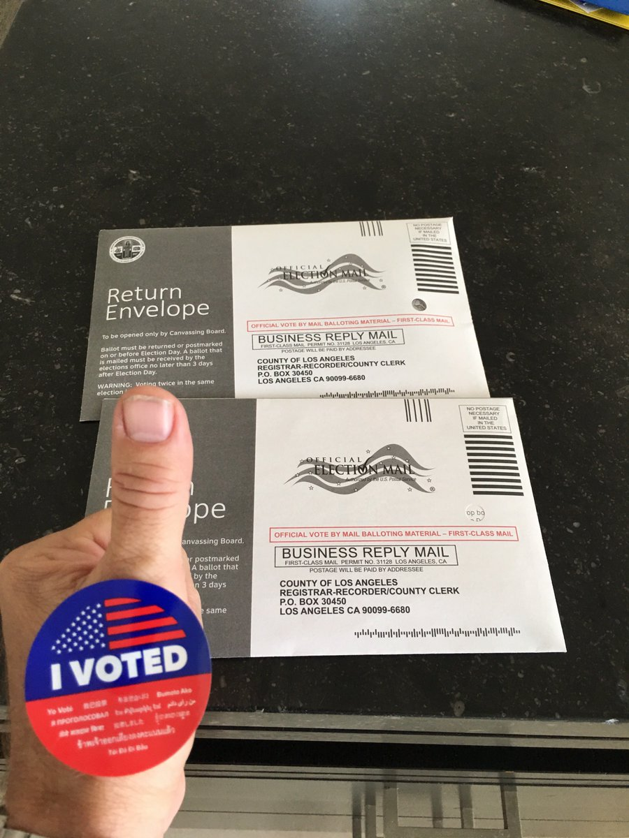 Our ballots are going in TODAY!  What about yours?  Be American!  Vote your conscience!  Hanx! https://t.co/LQJD0TxD6U