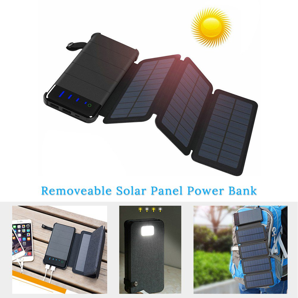 Folding Solar Panel Charger 5V Power Bank w/USB Output...