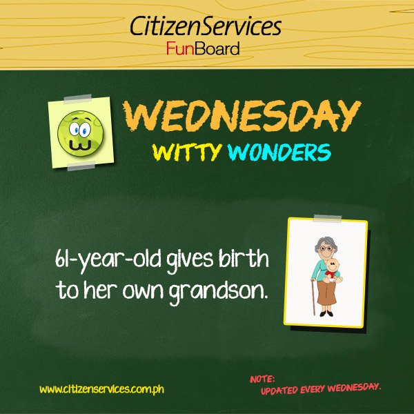 #WittyWonder: 61 year old gives birth to her own grandson. https://t.co/l6DAiAM1GJ #citizenservices #trivia https://t.co/FU6s0C9EdO
