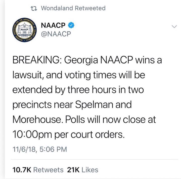 Georgia! Get and stay in line!!! @staceyabrams #vote #govote #ivoted https://t.co/rFSzYYbE2u