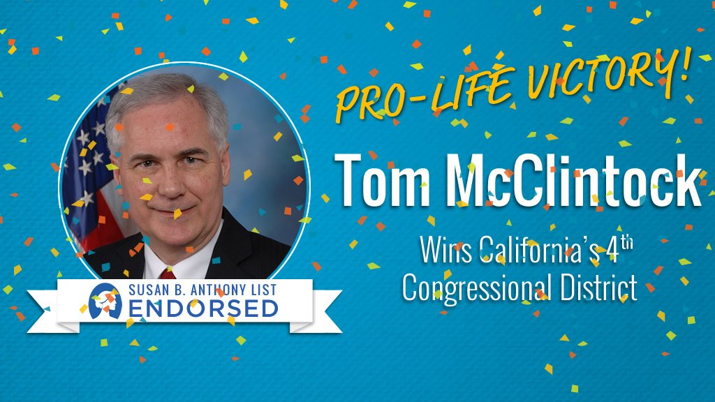 Shout out to Rep. @TomMcClintock for his WIN in #CA04!! Tom is a strong #ProLife advocate! #IVoteProLife✅