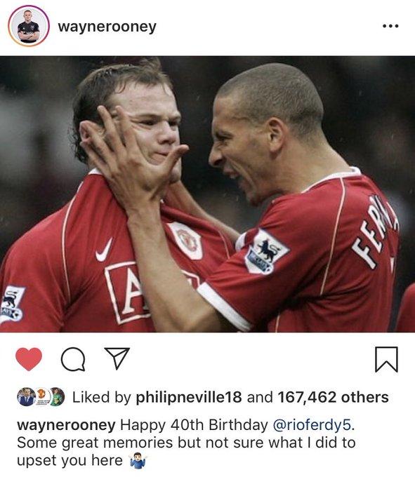 Wayne Rooney wishing Rio Ferdinand happy birthday on Instagram