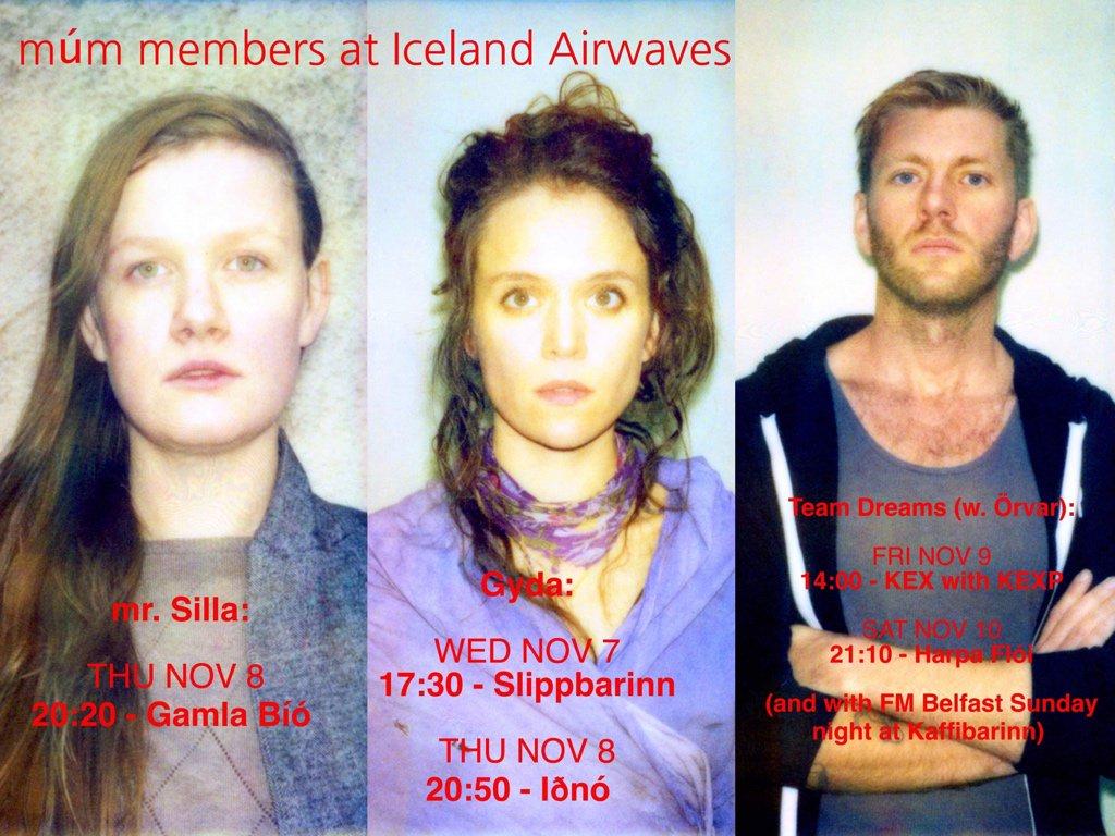 test Twitter Media - members of múm at @icelandairwaves  mr.Silla NOV 8 - 20:20 - Gamla Bíó  Gyða: NOV 7 - 17:30 - Slippbarinn NOV 8 - 20:50 - Iðnó  Team Dreams  (w. @orvarsmarason ): NOV 9 - 14:00 - @kexp  NOV 10 - 21:10 - Harpa Flói  and with @fmbelfast at kaffibarinn on sunday night :o https://t.co/sJTsLUr9S2