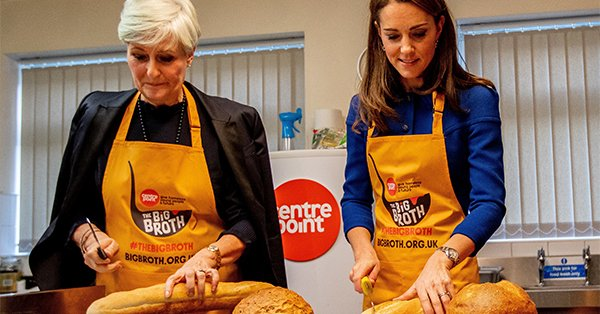 Kate Middleton swapped her coat for an apron and put in work for homeless youth.