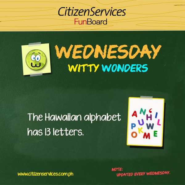 #WittyWonder: The Hawaiian alphabet has 13 letters. https://t.co/l6DAiAuqPb #citizenservices #trivia https://t.co/2RQeeb32oe