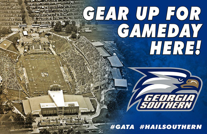 Hey #EagleNation! As you make your way to @PaulsonStadium tomorrow, take time to stop by and support retailers carrying @GeorgiaSouthern licensed gear! A portion of every sale supports #TheGreatestUniversityInAmerica #OurColorsAreBlueAndWhite #PowerOfPaulson #SeniorDay #TrueBlue https://t.co/FqqXC4atVG
