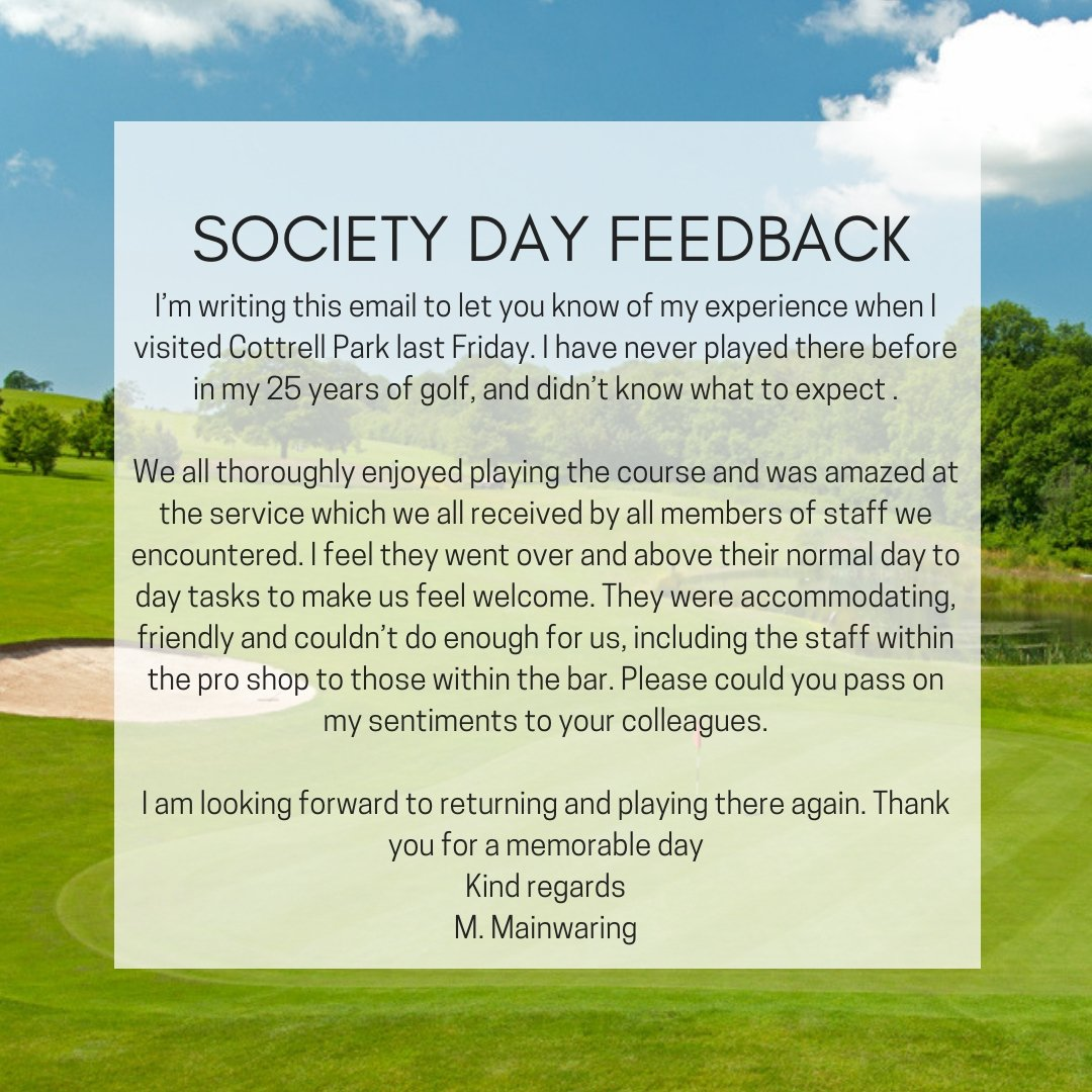 test Twitter Media - We love to see positive feedback from Customers who have enjoyed their experience at Cottrell Park Golf Resort.  To find out about our Golf Packages; E: sales@cottrellpark.com T: 01446 781781 Opt2   #golf #servicewithasmile #cottrellpark #FeedbackFriday https://t.co/Nm23z9cLWu
