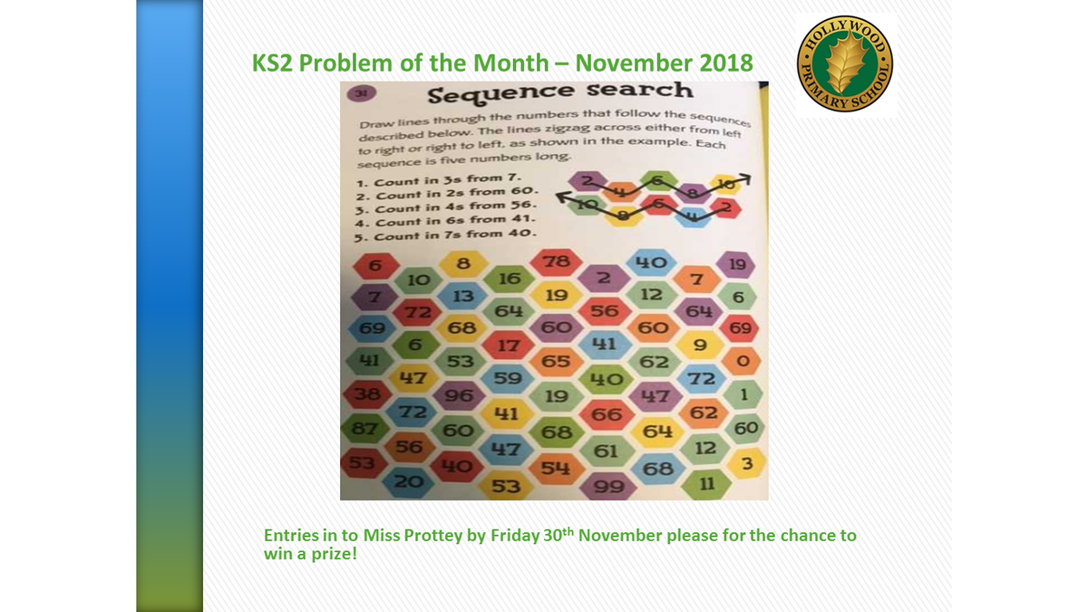 test Twitter Media - Calling all Hollywood Maths magicians! Have a go at November's Problem of the Month to win a team point and be entered in for a raffle prize. https://t.co/Sfdfq2NSfP