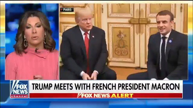 .@MorganOrtagus: What got to President Trump about Macron's statement was how he lumped the United States in with China and Russia in a discussion about building up a military