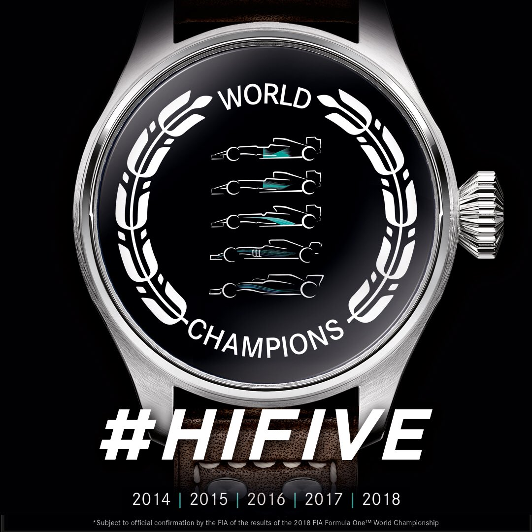 . @lewishamilton wins the #BrazilGP and @mercedesamgf1 is 2018 #F1 World Constructors' Champions! Huge congratulations to our partner for claiming the fifth consecutive title. #HiFive #IWCRacing #LH44 https://t.co/NAQL7YHmH7