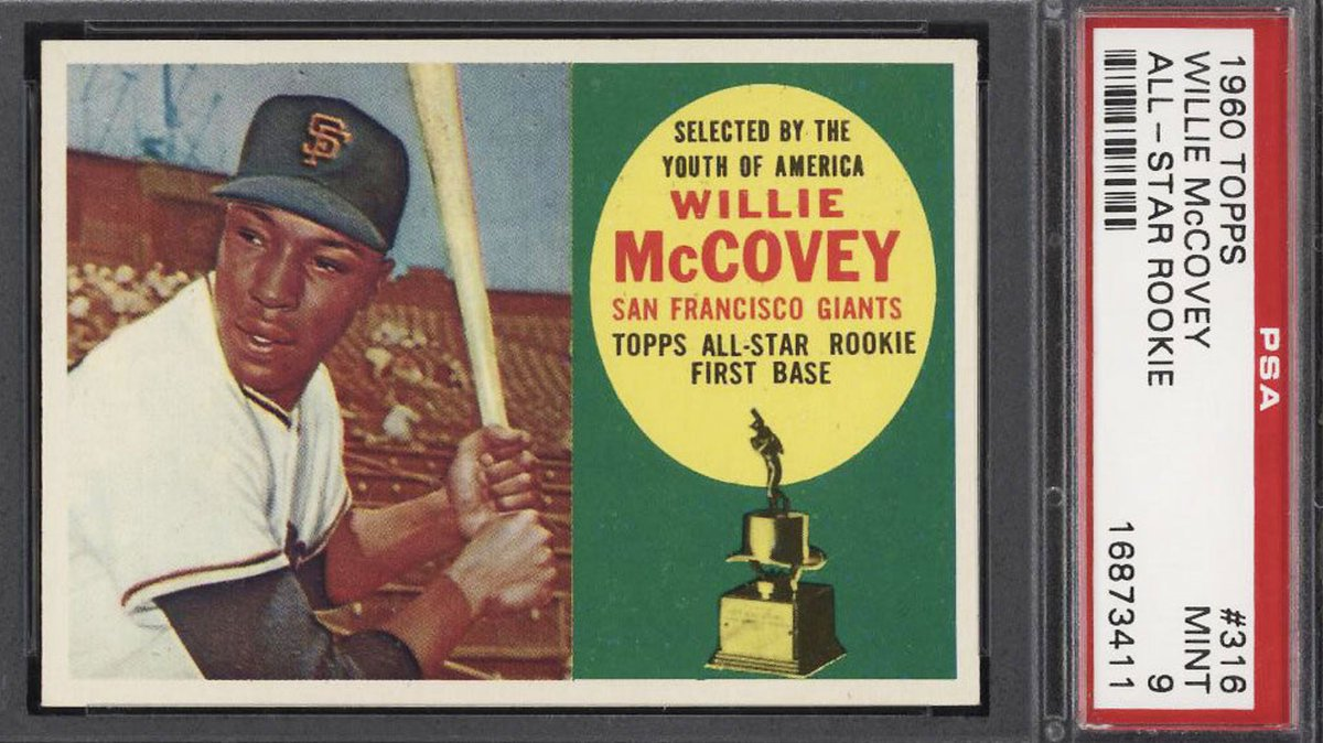 1960 Topps Willie McCovey ROOKIE RC #316 PSA 9 MINT! Bidding ends today at 9:03 pm ET! https://t.co/qkzTAHzeug https://t.co/59TSCAIHjf