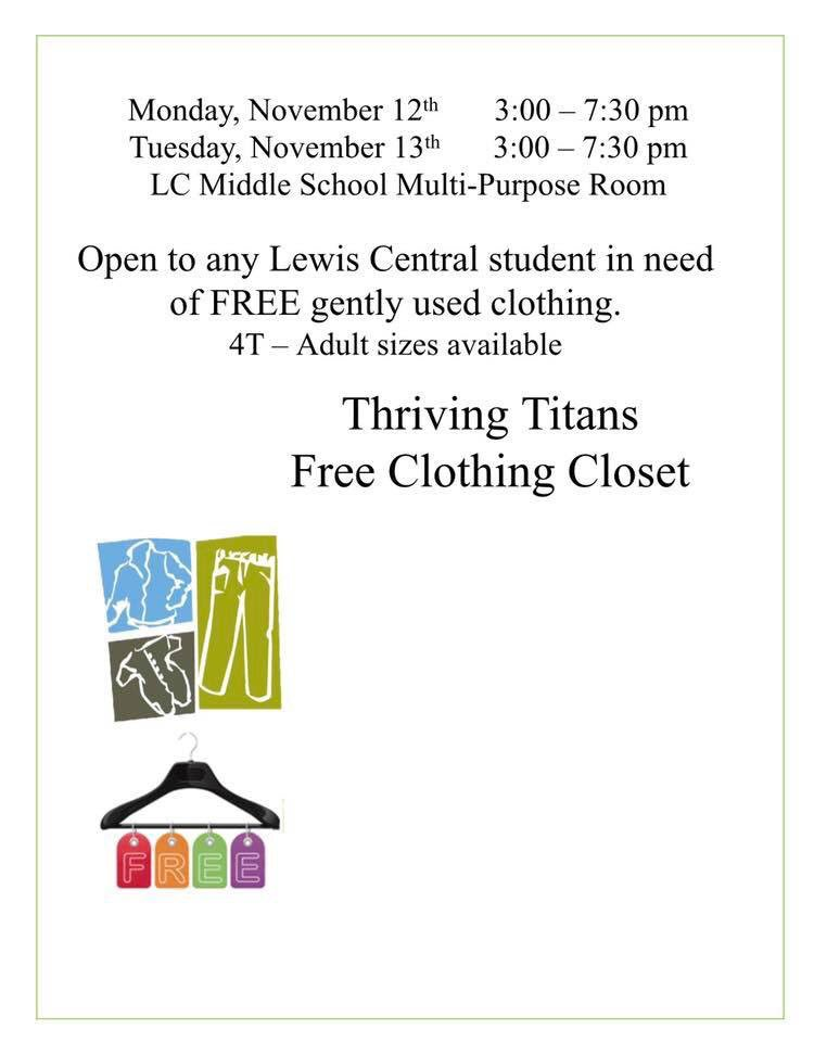 Thriving Titans free clothing closet.  All LC students welcome!   @LewisCentralCSD https://t.co/39xK1nLng8
