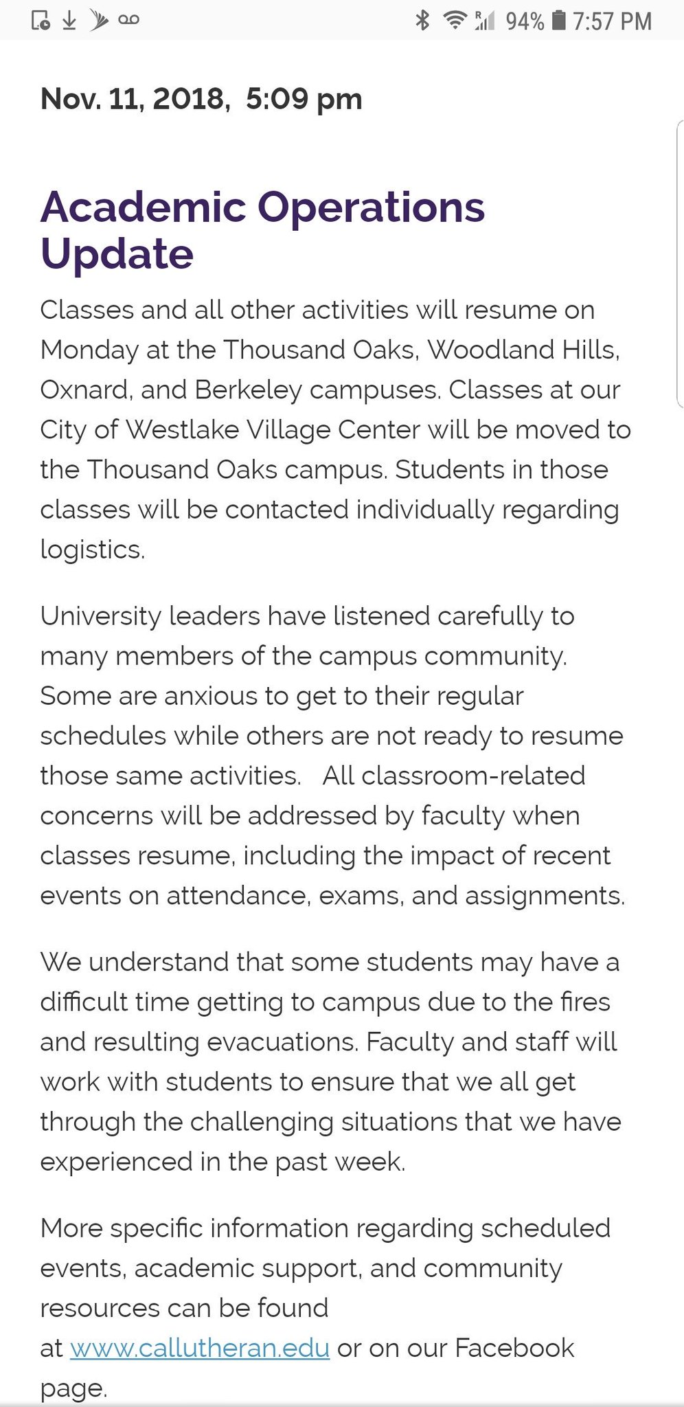 CLU student group implores university leaders to cancel classes, which are scheduled to resume tomorrow (Monday) - Borderline tragedy, fire impacts still much too raw, they say. @SVAcorn https://t.co/XjwNCVwBpB