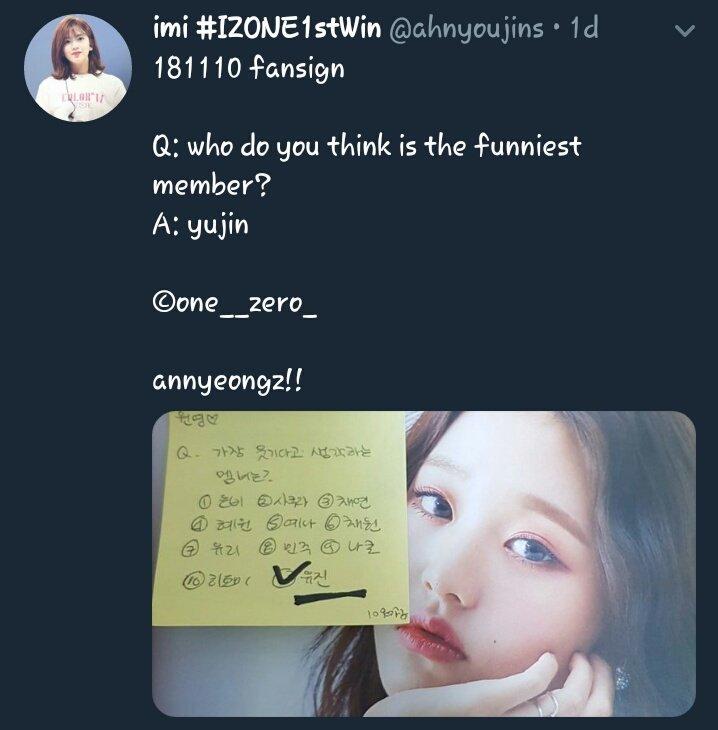 RT @choiyenalogy: Fans: which member d- Wonyoung: yujin unnie!  Fans: which member d- Yujin: minju unnie! https://t.co/1rrMEZ5jCA
