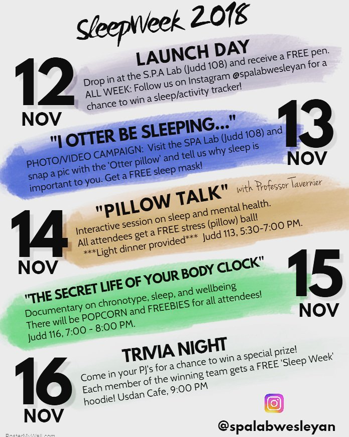 test Twitter Media - RT @spalabwesleyan: Sleep Week is here! Check out the list of events we have planned💤💤 https://t.co/Fxgi0fZ5Iq