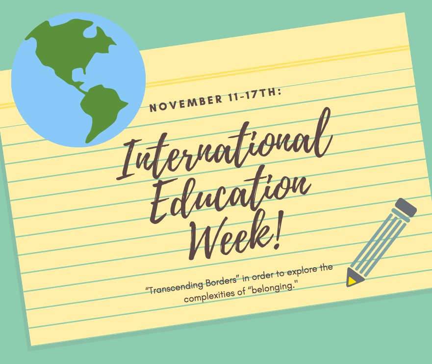 "test Twitter Media - It's #InternationalEducation Week (#IEW): November 11-17, 2018! This year's #IEW focuses on theme of ""Transcending Borders"" 🌍. Full schedule of events here: https://t.co/XiWJCckOW1 https://t.co/JqBynDjESO"
