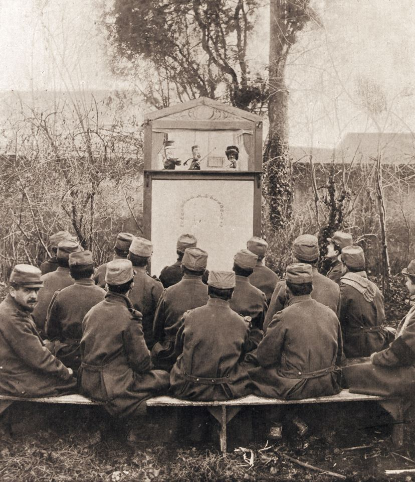 "test Twitter Media - To mark Armistice Day, an image of front line troops of ""the Great War"" enjoying the French version of Punch & Judy with Guignol as Punch, entertaining troops and satirically, as a stand-in for political leaders of the time. #ArmisticeDay100 https://t.co/nRkuidbuoA"