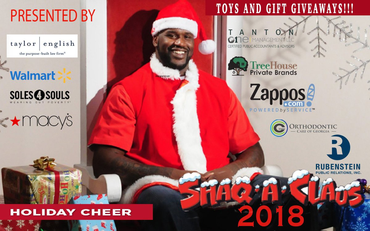 I would like to Thank all my partners for their support with Shaq A Claus 2018. Looking forward to a great event. https://t.co/8iKomcixQO