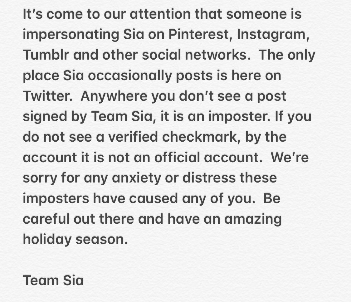 An important message from Team Sia https://t.co/zNc9QqBUcb
