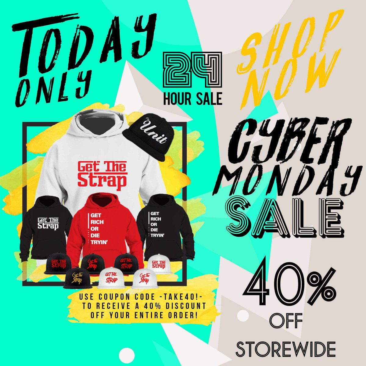 Cyber Monday Sale: 40% OFF EVERYTHING!! Today Only!  https://t.co/fOHBnoBOTi  Use Promo Code: TAKE40! https://t.co/aHX4PRgfCR