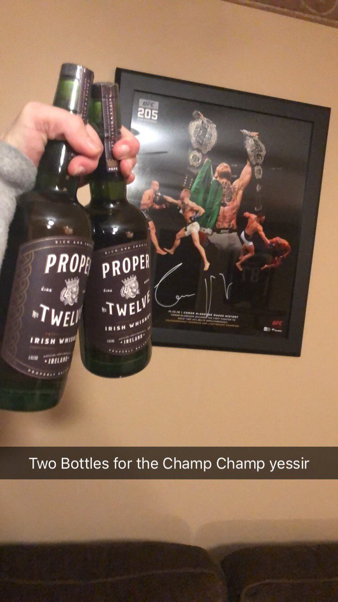 RT @Poncho_12878: Two bottles for the Champ Champ!!! @TheNotoriousMMA @ProperWhiskey https://t.co/sCj4HedoDh