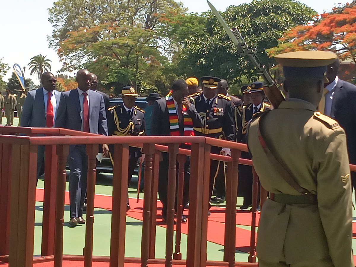 test Twitter Media - H. E ED Mnangagwa have just arrived at the ZRP Presidential Graduation Parade at Morris Depot Green Square. @mqheletshuma1 @ChamuMurava @ZBCNewsonline @taitapee @timatura @zimdhara https://t.co/FKVKdqfids