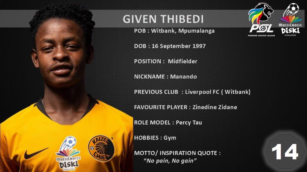 RT @OfficialPSL: Know Your MDC Sharp Shooter  @KaizerChiefs Given Thibedi- four goals scored  #Asidlali https://t.co/TGdMB6eHQI