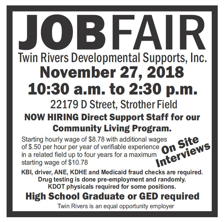 test Twitter Media - Twin Rivers Developmental Supports at Strother Field will be having Job Fair on November 27! https://t.co/sS83JxnkLY