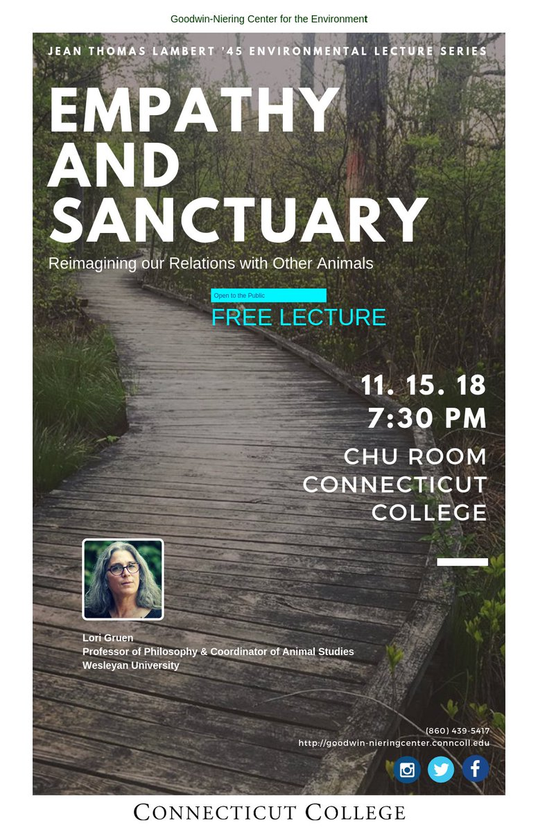 test Twitter Media - Empathy and Sanctuary: Reimagining Our Relations With Other Animals  Thursday November 15 7:30pm Charles Chu Room. The Jean Thomas Lambert '46 Environmental Lecture Series, delivered by Lori Gruen, Professor of Philosophy at Wesleyan https://t.co/9ve32NGpA2