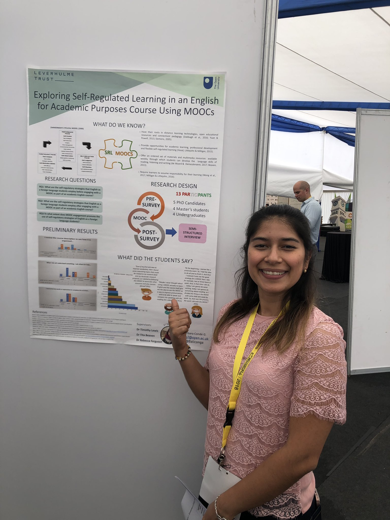 Here's Barbara Conde presenting her poster on self-regulated learning in an #EAP course using MOOCs at #WorldCALL2018 https://t.co/e6VIkCtns3