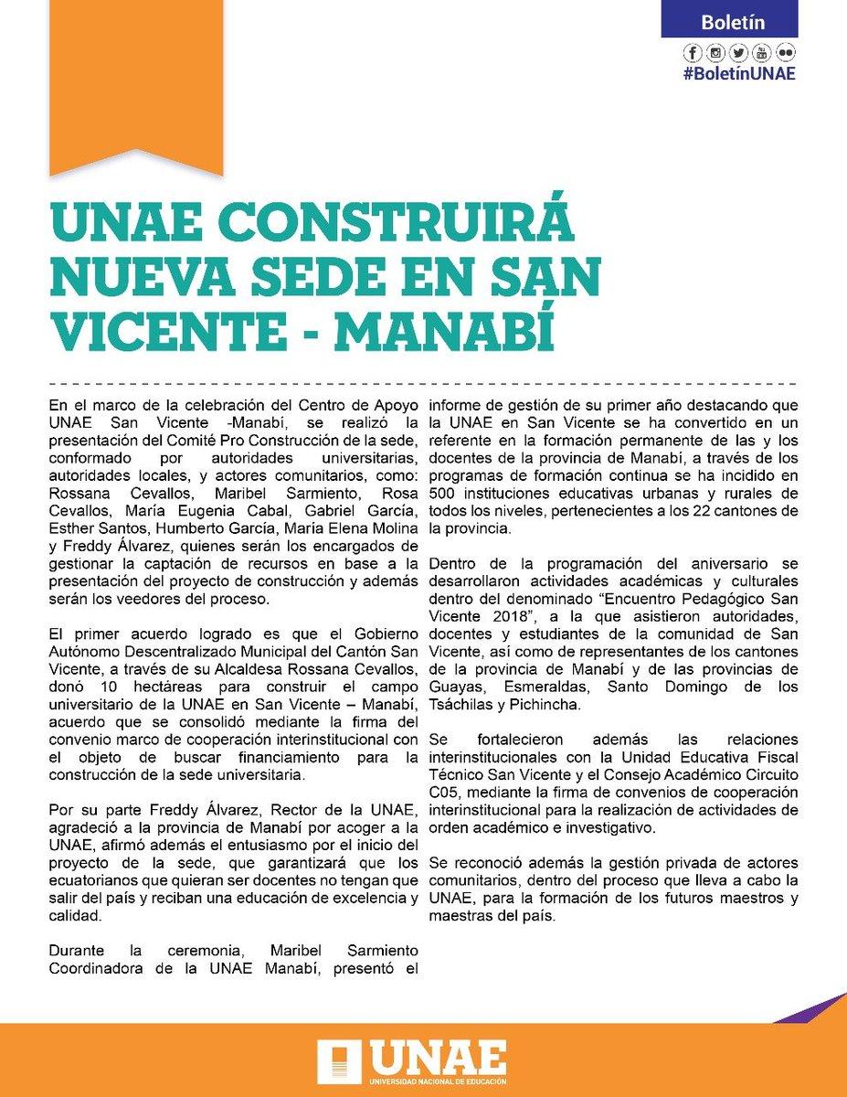 RT @UNAEcuador: #BoletínUNAE