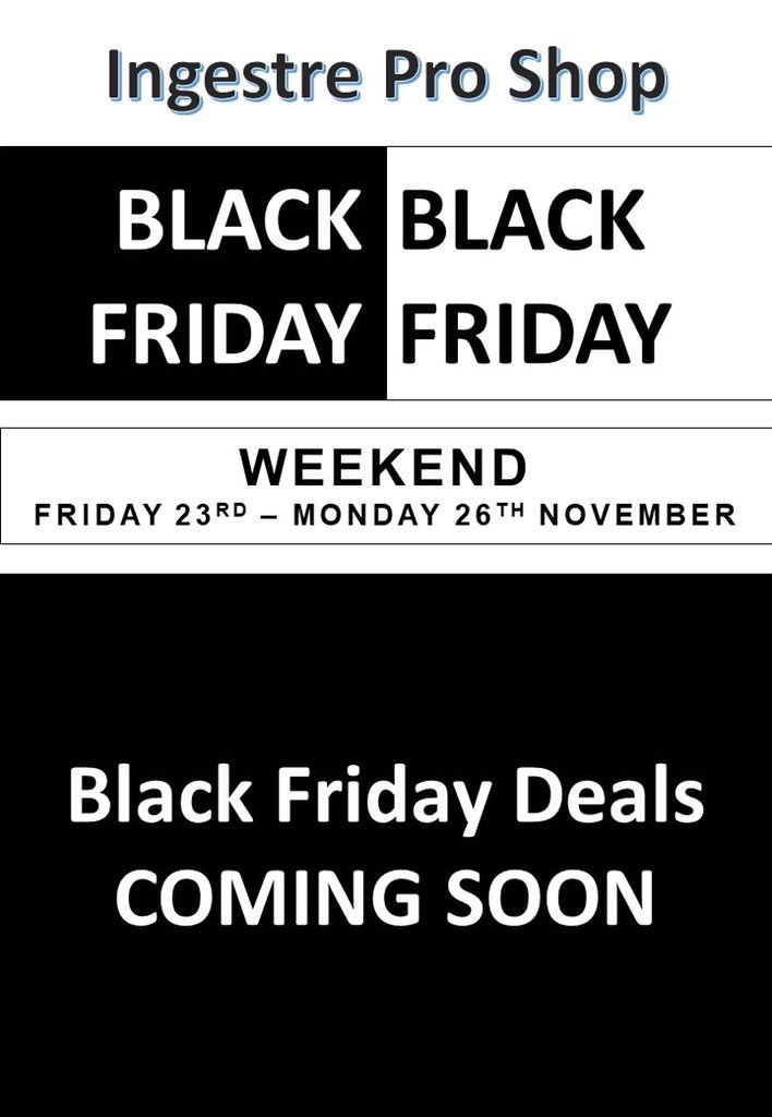 test Twitter Media - Just 1 week to go until #blackfriday and we have some great offers ready for you. These offers will only be available between Friday 23rd - Monday 26th November Watch out for upcoming posts!  #blackfriday #CyberMonday  @MidlandsGolfer @IPGCourseupdate @poppysgolf @Swingers_Golf_ https://t.co/ezyohkuJ1I