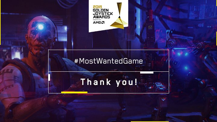 RT @CyberpunkGame: Thank you Chombattas! 😍😎#MostWantedGame2018 #GoldenJoysticks #Cyberpunk2077 https://t.co/jTSWXP3IKG