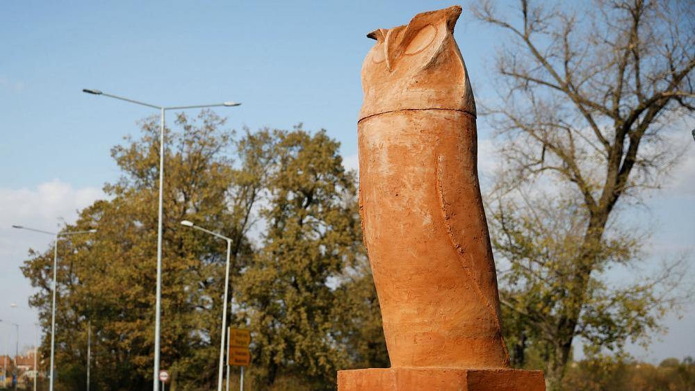 Watch: Phallic-shaped owl statue cases stir in Serbia