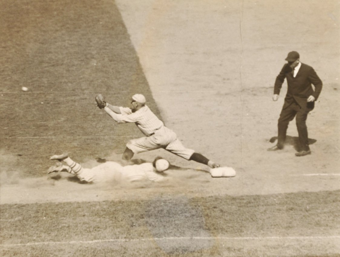 Polo Grounds, Manhattan, May 2, 1923 - Proof that sliding headfirst into first base goes as far back as 95 years, demonstrated here by NY Giants speedster Frankie Frisch, and it looks like Frankie beats throw to Dodger first baseman Dutch Schliebner. Giants won in 11-innings 7-6 https://t.co/0VbwnAEWBP